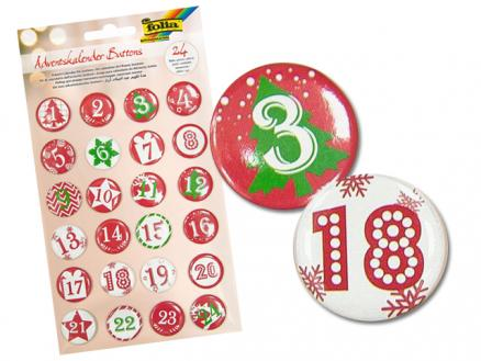 24 Buttons Adventskalenderzahlen